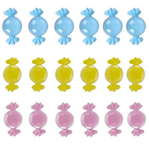 18 Piezas Transparente Cajas de Caramelos,Plastico Botella Dulces Botellas,Caja de Dulces de Plástico,Se Utiliza Para Dulces,Almacenamiento de Joyas,Recuerdos,Regalos de Cumpleaños Para Bebés