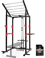 Sportstech Power Rack + barra de dominadas, 2 barras de dominadas, mango de dominadas, mosquetón y espaldera   estante para pesas con pesas   gimnasio en casa   FPR300/350