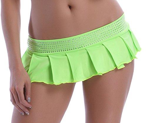 POLY Minifalda plisada, con tira de brillantes verde verde neón