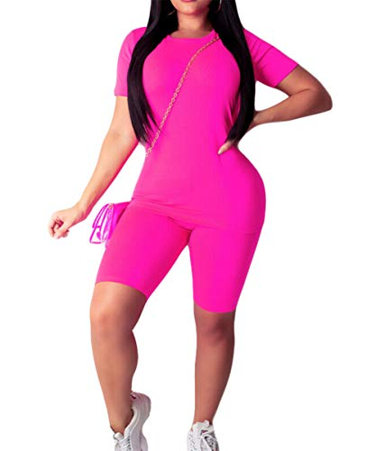 Women Tracksuit Sports Suit Crop Top Pants Outfit Yoga Workout High Waist Tight 2Pcs Outfit Set (Pink 2, L)