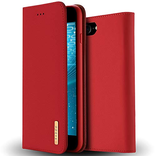 RADOO iPhone 8 Lederhülle,iPhone 7 Hülle, Premium Echtes Leder Klapphülle Slim Lederhülle TPU Innenraum Hülle Schlanke Ledertasche Handyhülle für Apple iPhone 8/iPhone 7 4.7