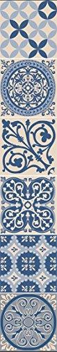 Décoration adhésive pour CARRELAGE 260587 Carreaux de Ciment, Polyvinyle, Bleu/Beige, 15 x 15 x 0,1 cm