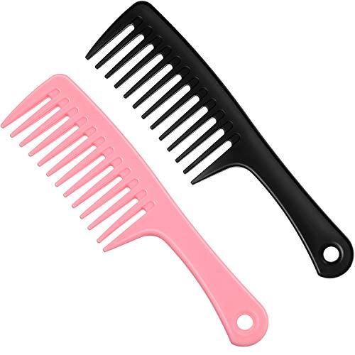 2 Pièces Peigne à Dents Larges Peigne à Cheveux Démêlant Peigne à Cheveux Bouclés Peigne de Douche à Grandes Dents pour Coiffure Cheveux Secs et Épais, Longs Humides, Cheveux Bouclés, Roses et Noirs