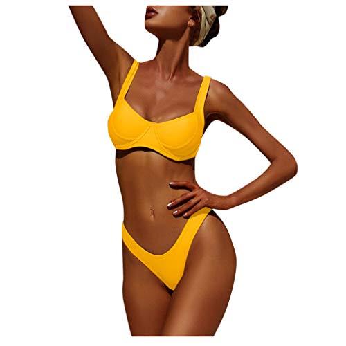 Xuthuly Zweiteiler Bikini Set Frauen Sexy Push-Up Brasilianischer Badeanzug Sommer Lässig Einfarbig Tanga Badebekleidung Badeanzug