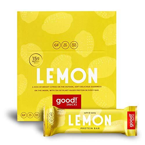 good! Snacks Vegan Lemon Protein Bar   Gluten-Free, Plant Based, Low Sugar, Kosher, Soy Free, Non GMO   15g Protein (12 Bars)…