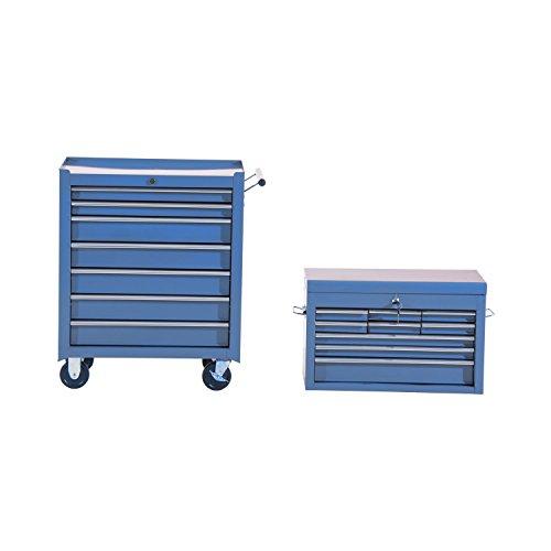 HOMCOM Fahrbarer Werkzeugwagen Werkstattwagen Rollwagen Werkzeugkasten (Blau) - 7
