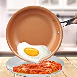 ZHANGFL Antiadhésif poêlon en cuivre Rouge Pan céramique Induction Poêle Poêle Casserole Four & 10 Pouces au Lave-Vaisselle (Color : 10 inch)