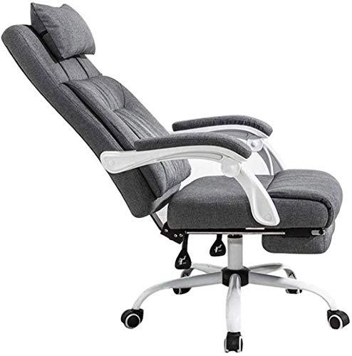 HJW Silla de oficina reclinable con respaldo lumbar, silla ejecutiva de respaldo alto, altura ajustable y respaldo reclinable