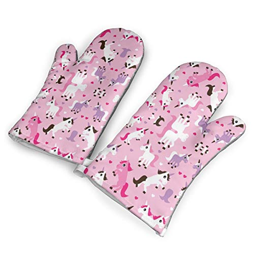 Pink Unicorn Horse Love Pink Kitchen Oven Mitts, Cotton Long Microwave Oven Gloves, Extreme Heat Resistant 572 Degrees Nonslip Gloves for Potholders Cooking, BBQ, Frying, Baking (1 Pair)