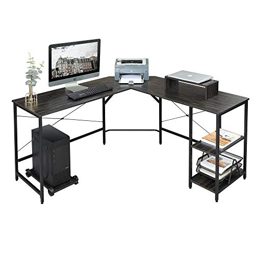 DEVAISE L Shaped Computer Desk, Modern Corner Computer Desks with CPU Stand Adjustable Shelves for Home Office Study Writing Gaming Wooden Table Workstation, Black