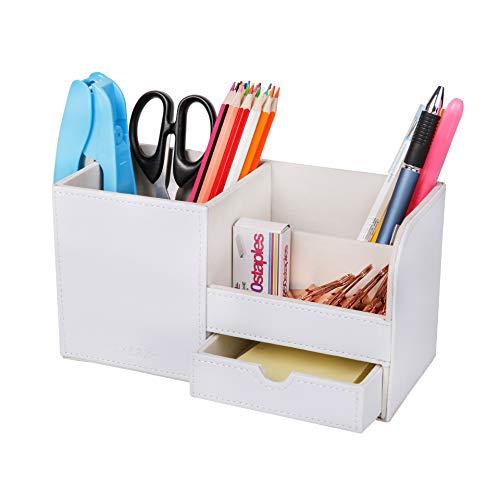 Exerz EX7078 Premium Grande Organizador de Escritorio de cuero sintético/Organizador de Oficina/Portalápices/Sistema de Escritorio/organizador multifuncional - Blanco