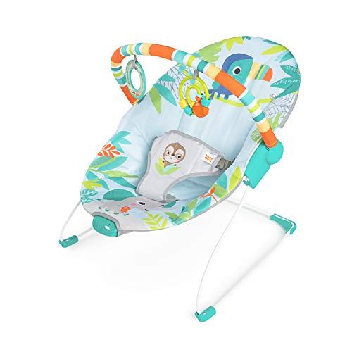 Bright Starts, Rainforest Vibes Vibrating Bouncer, Includes 2 Toys and Removable Toy Bar