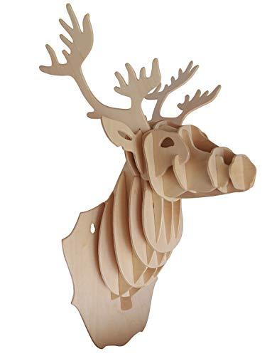 Quay- Deer Head Woodcraft Construction Kit FSC Costruzione, Colore Marrone, R001