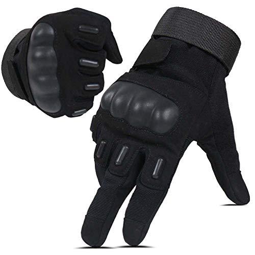 HIKEMAN Taktische Airsoft Militär Handschuhe für Männer und Frauen, Full Finger Touchscreen Harte Knöchel Handschuhe für Jagd, Schießen, Motorrad, Radfahren, Lumbering- Schwarz - L