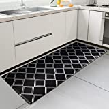 Kitsure Kitchen Rug, Waterproof & Non-Slipping Kitchen Mat for Floor, Durable Kitchen Rug and Mat for Kitchen & Laundry, Resilient Kitchen Mat Cushioned Anti-Fatigue, Black