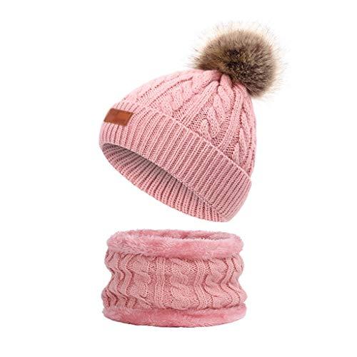 JJSPP Gestrickte Twist Hats Schal Set Hüte mit Poms für Jungen Turban Beanie Caps...