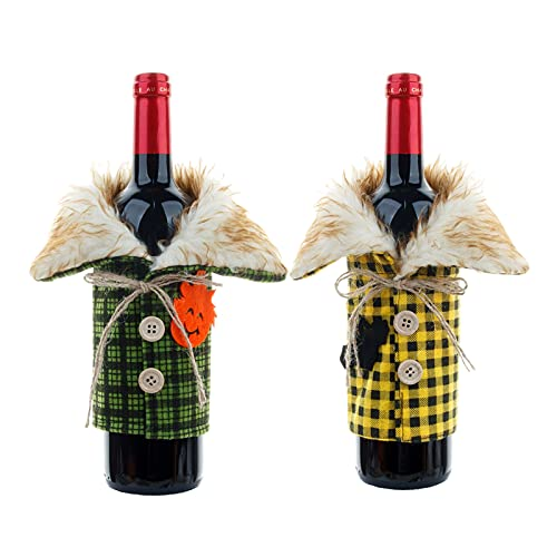 Lihuzmd 4 Piezas de decoración Botellas Vino Halloween, Suministros creativos Festival Fantasmas, Bolsas para Restaurante, Bolsa Tinto Festival,Verde,4PCS