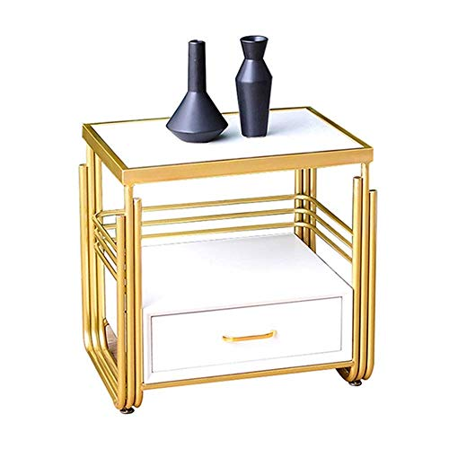 zvcv End Tables Bedside Table Nordic Modern Marble Sofa Side Table With Drawer Corner Table Bedroom Side Cabinet Storage Cabinet,20.4''x15.7''x19.6''