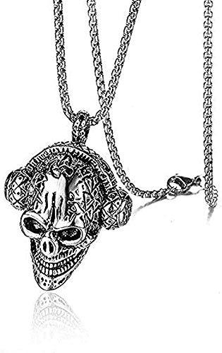 NC188 Hip Hop Rock Skull Music Collar Auriculares Colgante Collar Hombre Acero Inoxidable Punk Colgante Collar