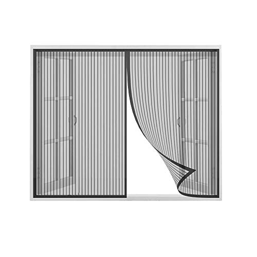 Flei Mosquitera Magnética, Ventana Cortina Mosquitera para Puertas, Adsorción magnética Plegable Cortina Ultrafina para Pasillos/Puertas/Ventana - Negro 95x100cm(WxH)