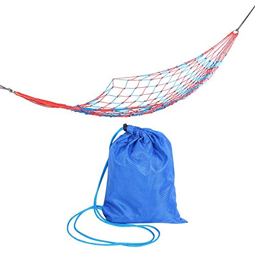 Yosoo Hammock, Meshy Rope Hammock Red and Blue Colorful Nylon Mesh Hammock Portable Outdoor Sport Travel Beach Hammock Camping Supplies Accessories