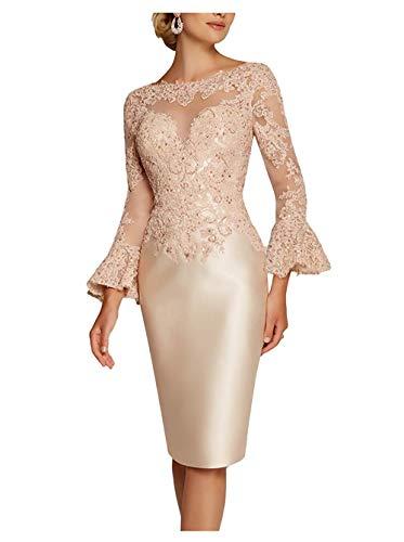 Royaldress Spitze Langarm Abendkleider Brautmutterkleider Hochzeitsgaeste Festliche Kleider Knielang Kurz Etuikleider -38 Champagner
