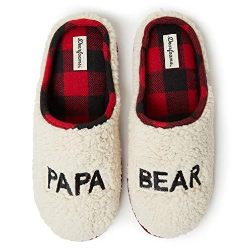 Dearfoams Family Collection Papa Bear Fluffy Sherpa Clog Zapatilla para Hombre, Sherpa, M