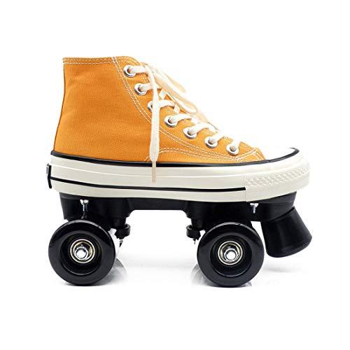 FFKL Patines De Lienzo Zapatos De Rodadura para Mujer Niña Scooter Quad Patines Cómodo Y Transpirable con Doble Rueda Zapatos De Lona Superior, Gelb-42