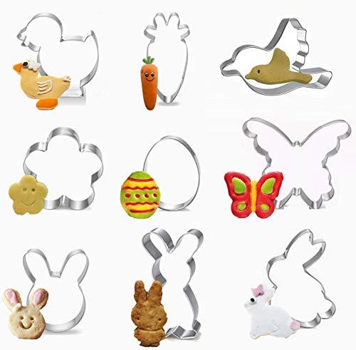 9 Stück Ausstechförmchen Ostern, Oster Ausstecher Set, Plätzchen Ausstecher Ostern, Ausstechform,Ausstecher Hase,Keksausstecher Ostern, Ideales Ostergeschenk & für Osterplätzchen