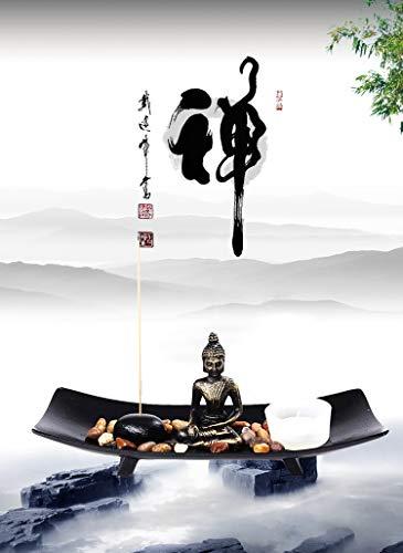 OM HOME Figura Buda de Suerte en Bandeja,con portavela, portaincienso y Roca decoración con...
