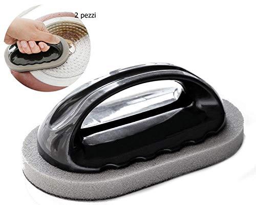 EVRYLON Spugne Cucina Abrasive per Pulire Acciaio con Manico spugnette per padelle e pentole Senza graffiare 2 Pezzi Visto in TV