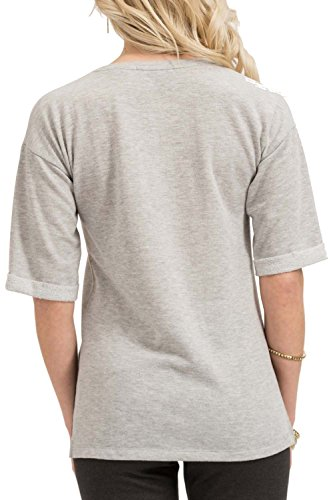 trueprodigy Casual Damen Marken Sweatshirt Aufdruck Oberteil Cool Stylisch Rundhals Halbarm Slim Fit Sweatshirt für Frauen Bedruckt, Größe:XS, Farben:Graumelange