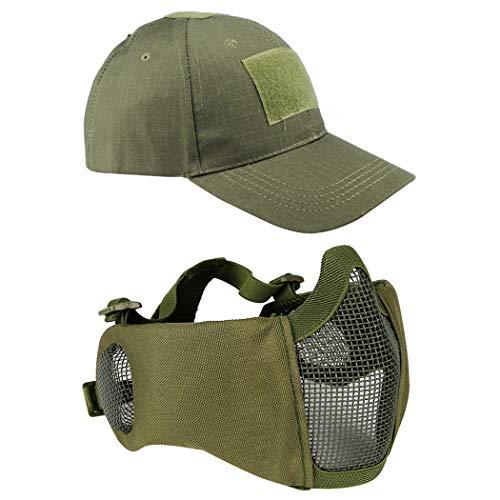 Aoutacc Airsoft Mesh Maske mit Ohrenschutz und verstellbarem Baseball Cap Set für CS/Jagd/Paintball/Shooting, OD