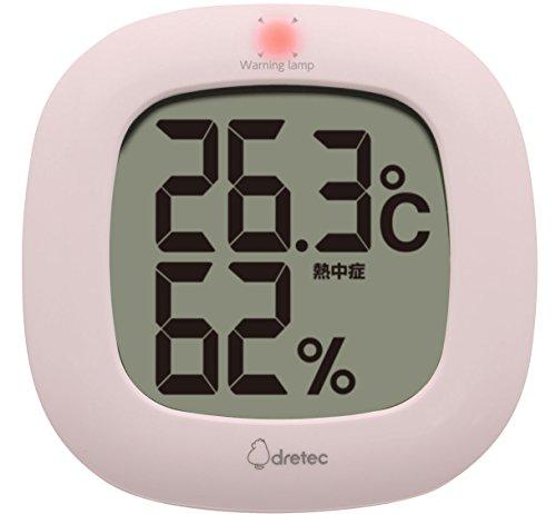 dretec(ドリテック) デジタル温湿度計 温度計 湿度計 デジタル コンパクト シンプル おしゃれ インテリア 大画面 卓上 壁掛け リビング 室内 赤ちゃん O-295PK(ピンク)