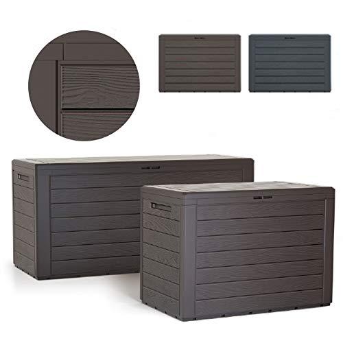 rg-vertrieb Gartenbox Auflagenbox 190L Truhe Box Gartentruhe Holz-Optik Woode Kissenbox Gartenkasten (Umbra)