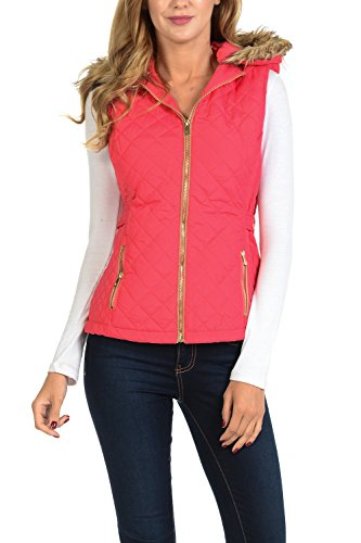 Auliné Collection Womens Quilted Zip Up Lightweight Padding Vest Fur Hood ZP Rose S