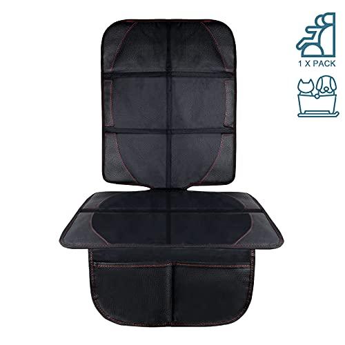 AresKo Autositzauflage, Kindersitzunterlage mit Schaumstoff Gepolsterte Sitzschoner Auto Kindersitz Anti-Rutsch-Anti-Kratz Flecken-Schutz-Organizer-Taschen, Autositzschoner Universalgröße