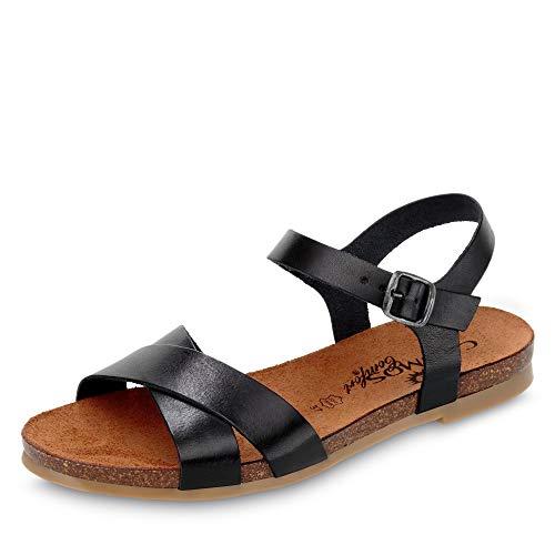 Cosmos 6106802 Damen Sandale aus Glattleder ungefüttert mit Lederkorkfußbett, Groesse 40, schwarz
