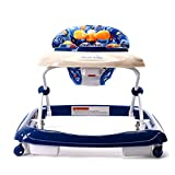 Best Wonder Products Baby Walker, Fold Activity Walkers Helper with Adjustable Height and Removable Toy Tray for Baby (Blue)