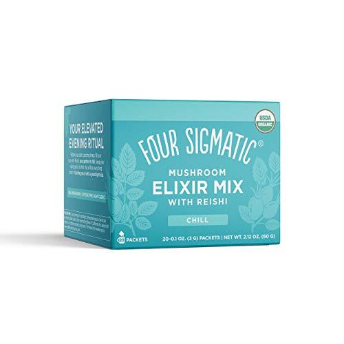 Four Sigmatic Reishi Mushroom Elixir, Organic Reishi Mushroom Powder with Tulsi & Mint, Support Stress & Sleep, Decaf, Pack of 20