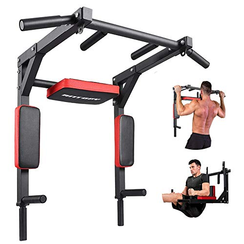 ANTOPY Pull Up Bar Wall Mounted Chin Up Bar Dip Stand Power Tower Multifunctional Workout Equipment Strength Training Exercise Machine Heavy Duty for Indoor Home Gym Fitness Max 440lbs