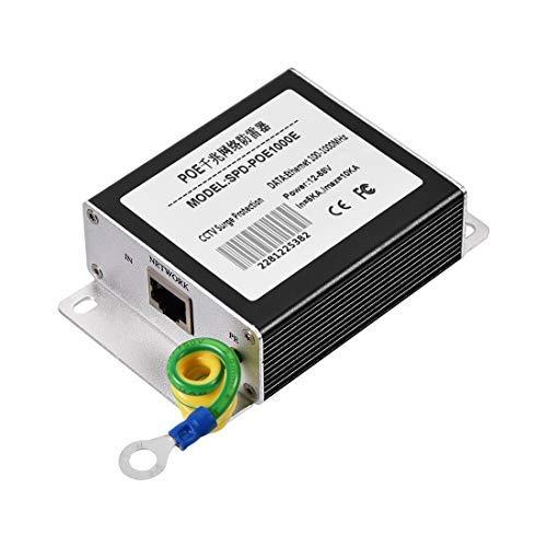 N A Ethernet Surge Protector for 100 1000 Base-T Gigabit 12-58V Modem Thunder Lightning Protection Black