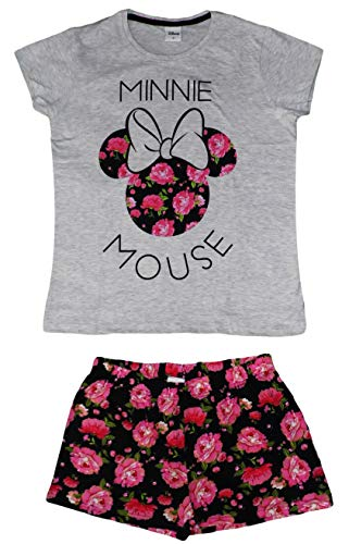 Disney Minnie Maus Kurzer Damen-Pyjama aus Baumwolle, Set Gr. Large, grau