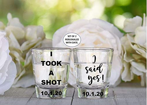 I Took A Shot I Said Yes Set of 2 Personalized Engagement Shot Glasses Gift for Couple, Funny Engagement Gift for the Couple, Bridal Shower Gift, Wedding Gift For Couple, Just Engaged Present
