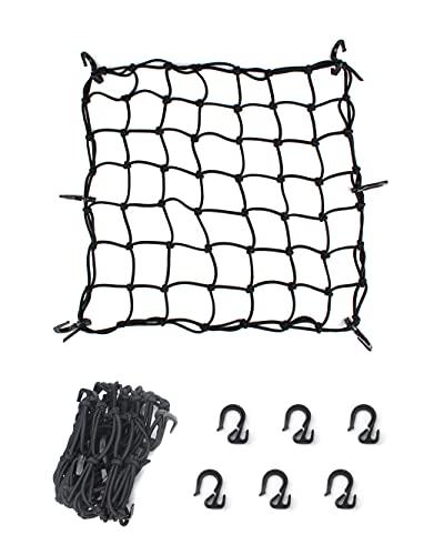 Black Cargo Nets, Heavy Duty Latex 17'X17' Bungee Net Stretches to 34'x34', Gear...