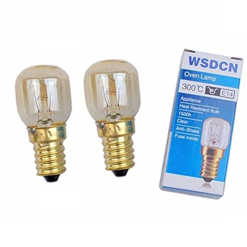 2 Pack, Fulfilled by Amazon, WSDCN E14 T22 15W 120V 120 Volt (110V~130V) Oven Light Bulb Oven Lamp Heat Resistant Bulb 300