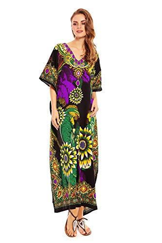Looking Glam Señoras Mujer Maxi Caftán Kimono Túnica Vestir