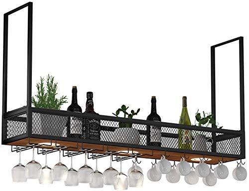 LZQBD Estantes de Vino, Estante de Vino para Colgar en la Pared de Metal/Hierro con Focos Led, Estante de Alenamiento de Barra de Madera Iza, Gabinete de Vino Industrial, Botellas, Cubilete Y Porta