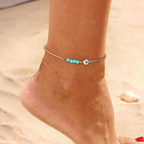 cavigliera donna turchese Yienate - Cavigliera da spiaggia con ciondolo a forma di occhio turchese per donne e ragazze