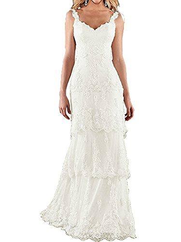 JAEDEN Brautkleid Hochzeitskleid Meerjungfrau Lang Damen Brautmode Spitze V-Ausschnitt Elfenbein EUR40